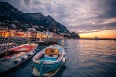 Boten in Marina Grande-baai, Capri, Itay stock foto