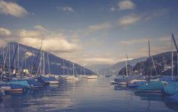 Boten in marine Spiez Zwitser Royalty-vrije Stock Afbeelding