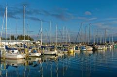 Boten in Motueka-Jachthaven, Nieuw Zeeland worden vastgelegd dat stock foto