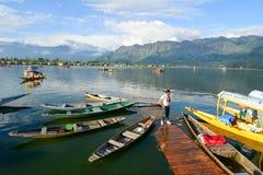 Boten op Dal Lake in Srinagar, India Stock Foto's