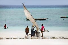 Boten op de Indische Oceaan van Nungwi Royalty-vrije Stock Foto's