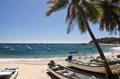 Boten op een strand, Mexico royalty-vrije stock fotografie