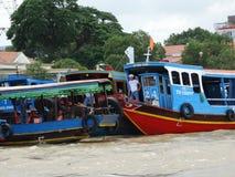 Boten op Mekong rivier, het platteland van Vietnam, Mekong Delta Royalty-vrije Stock Fotografie