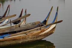 Boten op Taungthaman-meer, Myanmar royalty-vrije stock foto