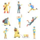 Boten und Kurier-Men At Work-Satz Lizenzfreies Stockfoto