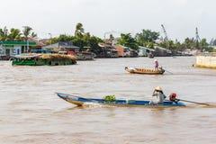 Botenreis onderaan de Mekong rivier in Nga-Baai, Vietnam Stock Foto