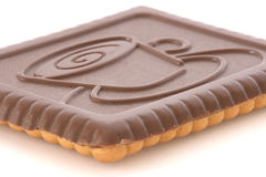 Boter koekje dat met chocolade wordt behandeld Stock Foto