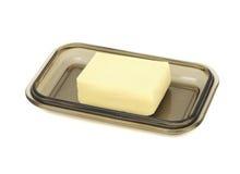 Boter op Glas Butterdish Stock Afbeelding