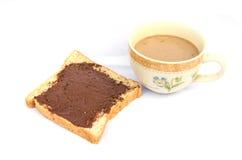 Brood, koffie en chocolade. Royalty-vrije Stock Afbeeldingen