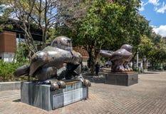 Botero在恐怖袭击的一颗炸弹毁坏的鸟雕塑在圣安东尼奥广场-麦德林,安蒂奥基亚省,哥伦比亚 库存照片