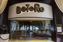 Botero restaurangyttersida inom av extranummerhotellet i Las Vegas Arkivbilder