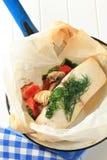 Botervis met groenten Stock Afbeeldingen