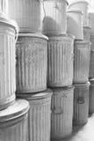Botes de basura apilados - BW Imágenes de archivo libres de regalías