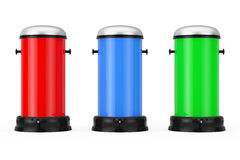 Botes de basura multicolores del metal con el pedal representación 3d Fotografía de archivo