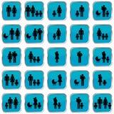 Botões dos símbolos da família Imagens de Stock Royalty Free