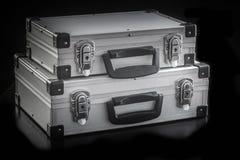 Boîtes en aluminium de caisse en métal Photographie stock