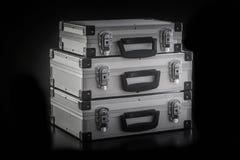 Boîtes en aluminium de caisse en métal Photos stock