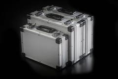 Boîtes en aluminium de caisse en métal Photos libres de droits