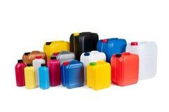 Botes plásticos para el aceite de la máquina Imagenes de archivo