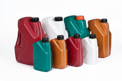 Botes plásticos para el aceite de la máquina Imágenes de archivo libres de regalías