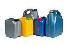 Botes plásticos para el aceite de la máquina Fotografía de archivo