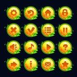 Botões redondos do menu do amarelo engraçado dos desenhos animados Fotos de Stock