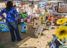 Sunflower Art. Botetourt County, VA – September 9th: A pumpkin vendor sell different verity of pumpkins at the at Annual Sunflower Festival on the Beaver Dam Royalty Free Stock Photo