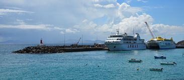Both Canary Island Ferries that Sail from Playa Blanca Lanzarote and Corralejo Fuerteventura. PLAYA BLANCA, LANZAROTE, SPAIN - MARCH 26, 2019: Both Canary Island stock photos