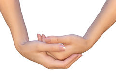 Both female empty hands are holding something Royalty Free Stock Photography