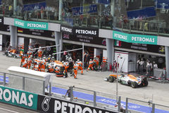 Force India cars waiting in queue to pit Royalty Free Stock Photography