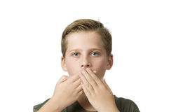 Both hand on mouth Stock Photo