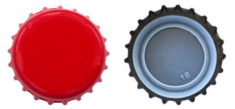 Red Metal Bottle Cap - Both Sides Royalty Free Stock Photos