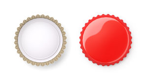 Both sides of a red metal bottle cap Royalty Free Stock Photography
