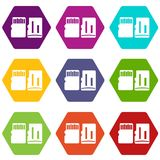 Both sides of SD memory card icon set color hexahedron. Both sides of SD memory card icon set many color hexahedron isolated on white vector illustration Royalty Free Stock Image