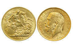 Sovereign coin. Both sides of sovereign 1927 coin isolated on white