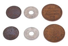 Isolated Palestine Coins - High Angle. Both sides of three vintage coins from pre-Israel Palestine (1930's), called Mil. From left to right - 1 Mils, 5 Mils, 2 Stock Photos