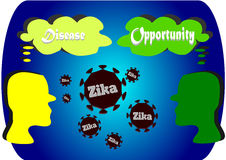 Both sides of Zika virus Royalty Free Stock Images