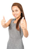 Both Two Thumbs Up Approving Asian Girl Half V Stock Photography