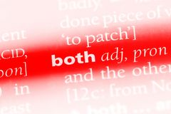 Both. Word in a dictionary.  concept royalty free stock photography