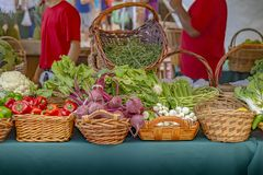 Both workers finished setting up this booth stocked with all kinds of fresh produce royalty free stock photo