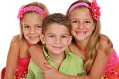 Bother and Sisters Portrait Isolated Stock Photography