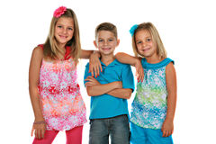 Bother and Sisters Portrait Isolated Stock Photos