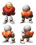 A bothered robot.He is lying with his broken heart. Royalty Free Stock Photo