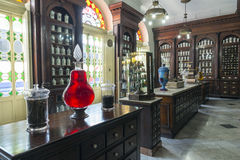 Botica La Francesa. MATANZAS, CUBA - MAY 10: This old French Colonial pharmacy, formerly known as Botica La Francesa, was founded by Dr Ernesto Triolet in 1882 Royalty Free Stock Photography