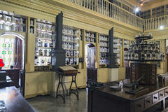 Botica La Francesa. MATANZAS, CUBA - MAY 10: This old French Colonial pharmacy, formerly known as Botica La Francesa, was founded by Dr Ernesto Triolet in 1882 Stock Photo