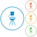 Boties3_1. Barbecue grill with chicken icon. Vector illustration Royalty Free Stock Photos