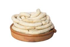 Botifarra catalan de saucisse avec l'oeuf Typique être mangé gros mardi Photographie stock