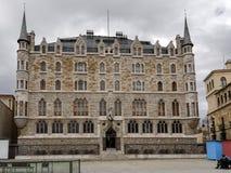 Botines宫殿在利昂,卡斯蒂利亚y利昂 库存照片