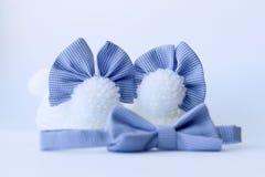 Botines del bebé con los arcos y la corbata de lazo Imágenes de archivo libres de regalías
