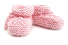 Botines rosados del bebé Foto de archivo